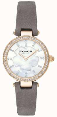 Coach 女式现代奢华灰色皮革表带珍珠贝母 14503104