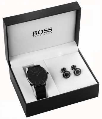 Hugo Boss 男士黑色离子镀金手表和袖扣套装 1570067