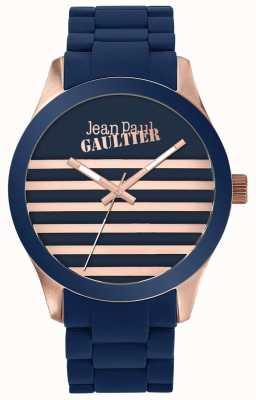 Jean Paul Gaultier Enfants拥有男女皆宜的蓝色和玫瑰金橡胶手表 JP8501127
