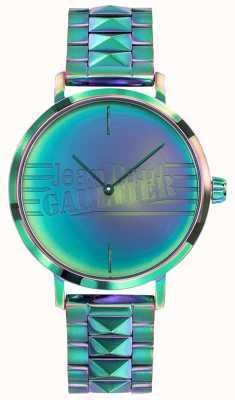 Jean Paul Gaultier 坏女孩妇女绿色彩虹作用金属手表 JP8505705