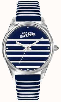 Jean Paul Gaultier (无框)海军妇女条纹手表皮革表带 JP8502414