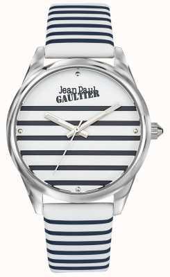 Jean Paul Gaultier (无框)海军妇女条纹手表皮革表带 JP8502416