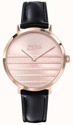 Jean Paul Gaultier Glam海军女式黑色皮表带 JP8505605