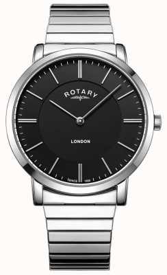 Rotary 男士伦敦不锈钢扩展手镯表 GB02765/04
