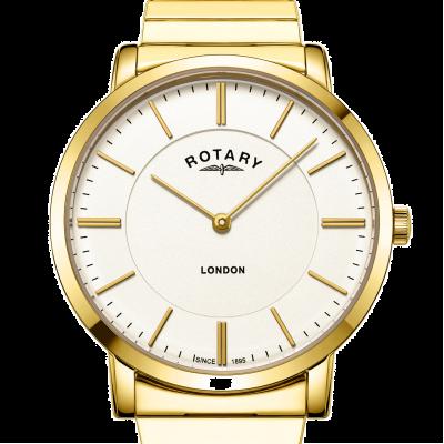 Rotary 男装伦敦金不锈钢扩展手链表 GB02766/03