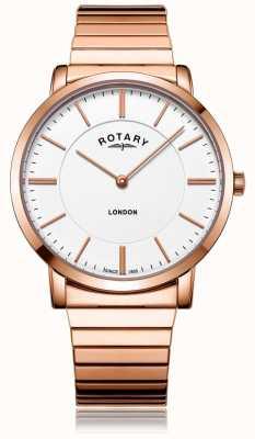Rotary 男士伦敦玫瑰金钢扩展手链表 GB02767/02