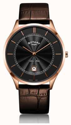 Rotary 男士超薄玫瑰金棕色皮革表带 GS08404/04