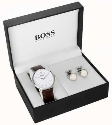 Hugo Boss 男士棕色真皮白色表盘袖扣礼盒 1570069