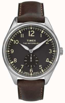 Timex 男士waterbury传统黑色亚细亚棕色皮革 TW2R88800