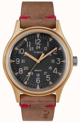 Timex 男士mk1 sst chrono 40毫米古铜色表壳黑色表盘棕色表带 TW2R96700
