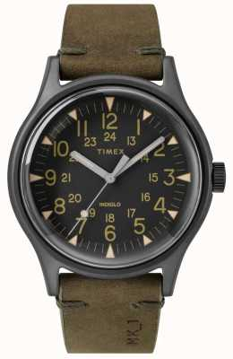 Timex 男士mk1 sst chrono 40毫米黑色表壳黑色表盘橄榄色表带 TW2R97000