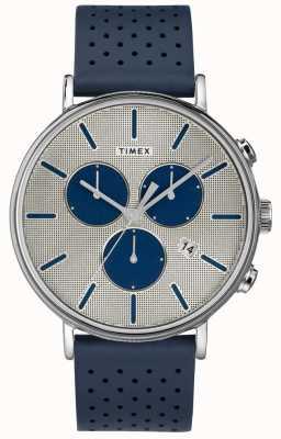 Timex 男装fairfield chrono超新星蓝色表带银色表盘 TW2R97700