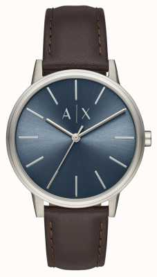 Armani Exchange 男士手表棕色皮革表带蓝色表盘 AX2704