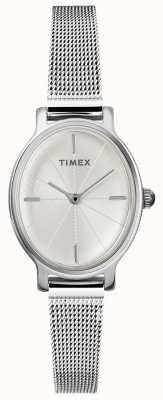 Timex 女士米兰椭圆形银色网眼表 TW2R94200D7PF