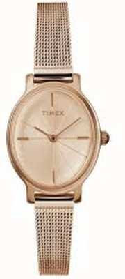 Timex 女士米兰椭圆玫瑰金网眼表 TW2R94300D7PF
