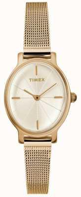 Timex 女士米兰椭圆形金色网眼表 TW2R94400D7PF