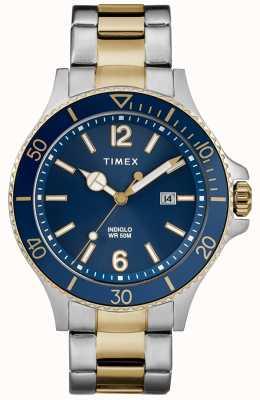 Timex 男士海港双色银色和金色手镯蓝色表盘 TW2R64700D7PF