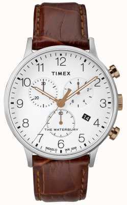Timex 男士waterbury经典计时码表白色表盘 TW2R72100D7PF