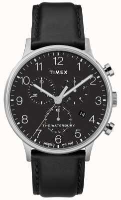 Timex 男士waterbury经典计时码表黑色表带 TW2R96100D7PF
