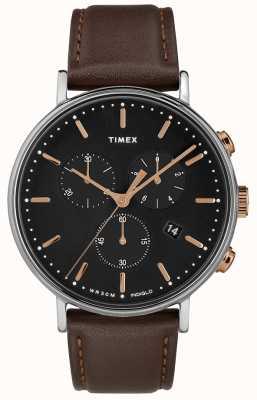 Timex Fairfield计时码表棕色表带黑色表盘 TW2T11500D7PF