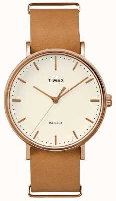 Timex Fairfield棕色表带3手表 TWF3C8160UK