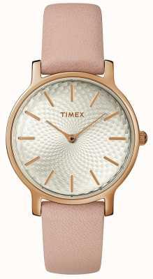 Timex 女式都市皮表带手表银玫瑰金 TW2R85200D7PF