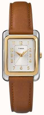Timex 女式棕色皮革表带银色表盘 TW2R89600D7PF