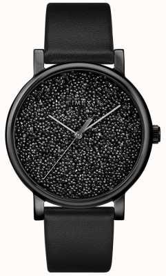 Timex 这款女士黑色皮革腕表饰有施华洛世奇水晶 TW2R95100D7PF