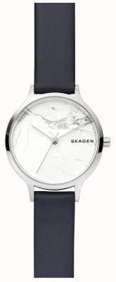 Skagen 女士白色大理石表盘皮革表带手表 SKW2719