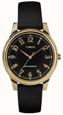 Timex 女式经典黑色真皮表带黑色表盘 TW2R87100