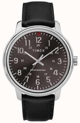 Timex 男士经典黑色皮革拉丝黑色表盘 TW2R85500