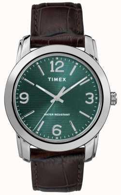 Timex 男士经典棕色皮革鳄鱼皮表带绿色表盘 TW2R86900