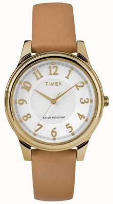 Timex 女式经典棕褐色皮革表带银色表盘,金色调 TW2R87000