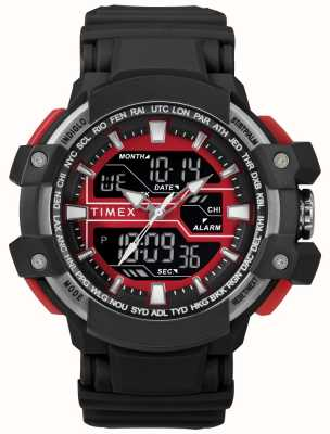 Timex 男士50毫米黑色表壳搭配红色搭配黑色表带 TW5M22700