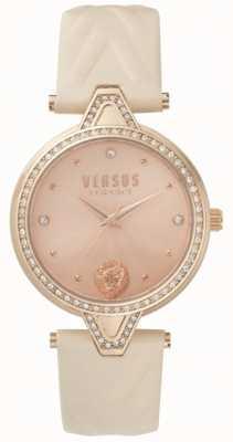Versus Versace 女装v对石镶玫瑰金表盘粉色皮表带 SPCI330017