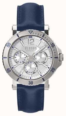 Versus Versace 男士steenberg银色表盘蓝色皮革表带 SP52010018