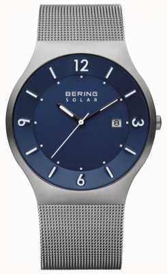 Bering 男士太阳能蓝色表盘灰色不锈钢网眼表带 14440-007