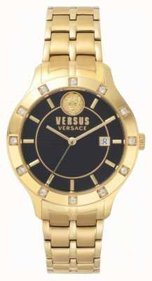 Versus Versace 女式蕨菜黑色表盘金色pvd手链 SP46030018