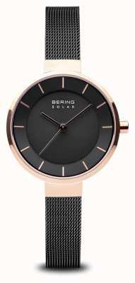 Bering 太阳能女式,阳光表盘,玫瑰金表壳,黑色网状表带 14631-166