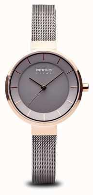 Bering 女式太阳能玫瑰金表壳,不锈钢网眼表带 14631-369