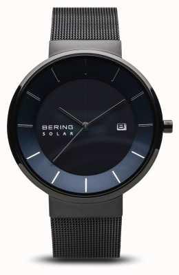 Bering 男士太阳能手表,蓝色表盘,黑色网眼表带 14639-227