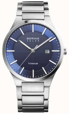 Bering 男士太阳能蓝色表面银色钛合金表带 15239-777