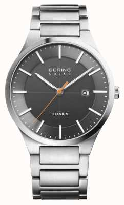Bering 男士太阳能银色钛金属表带 15239-779