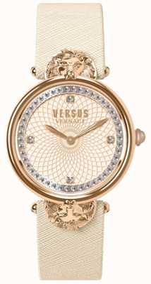 Versus Versace 女装维多利亚港口奶油色皮革表带玫瑰色表盘 VSP33130018