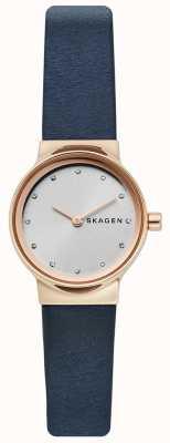 Skagen 女士freja手表,蓝色皮革表带,银色表面 SKW2744
