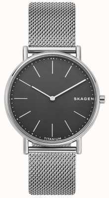 Skagen 男士signatur不锈钢网状手链黑色表盘 SKW6483