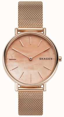 Skagen 女士signatur玫瑰金不锈钢手链粉色表盘 SKW2732