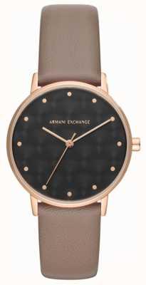 Armani Exchange Armani交换女装连衣裙手表棕色皮表带 AX5553