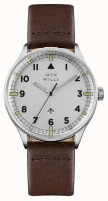 Jack Wills 男士露营银色表盘棕色皮表带 JW001BRSS