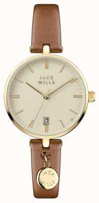 Jack Wills 女装bennett奶油色表盘棕色皮表带 JW005CMGD
